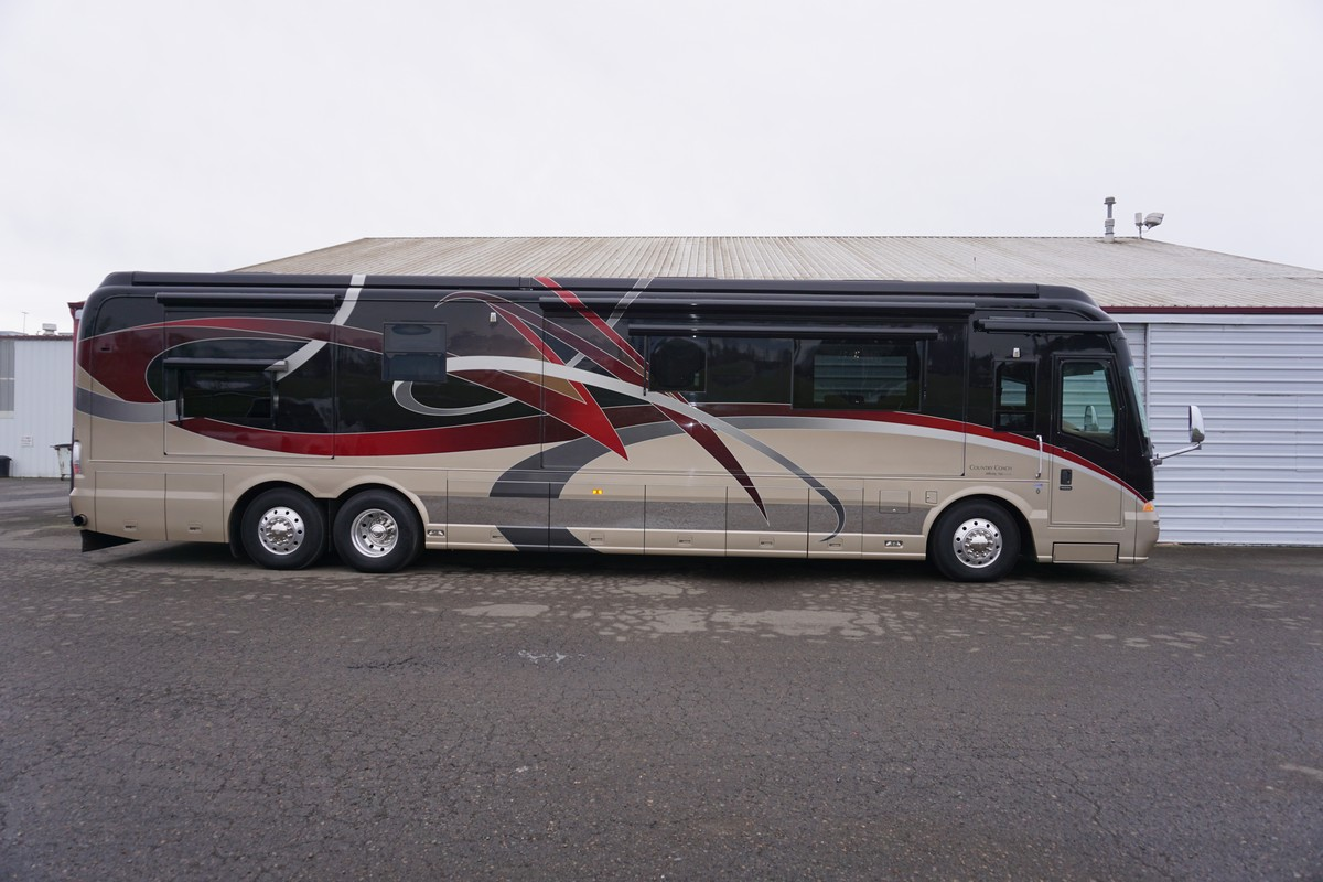 This 2008 Country Coach Affinity Has 600HP Cummins ISX Seating 5 Office Suite Custom Bus Upgrade Interior Package Full Tile Living Room Floor